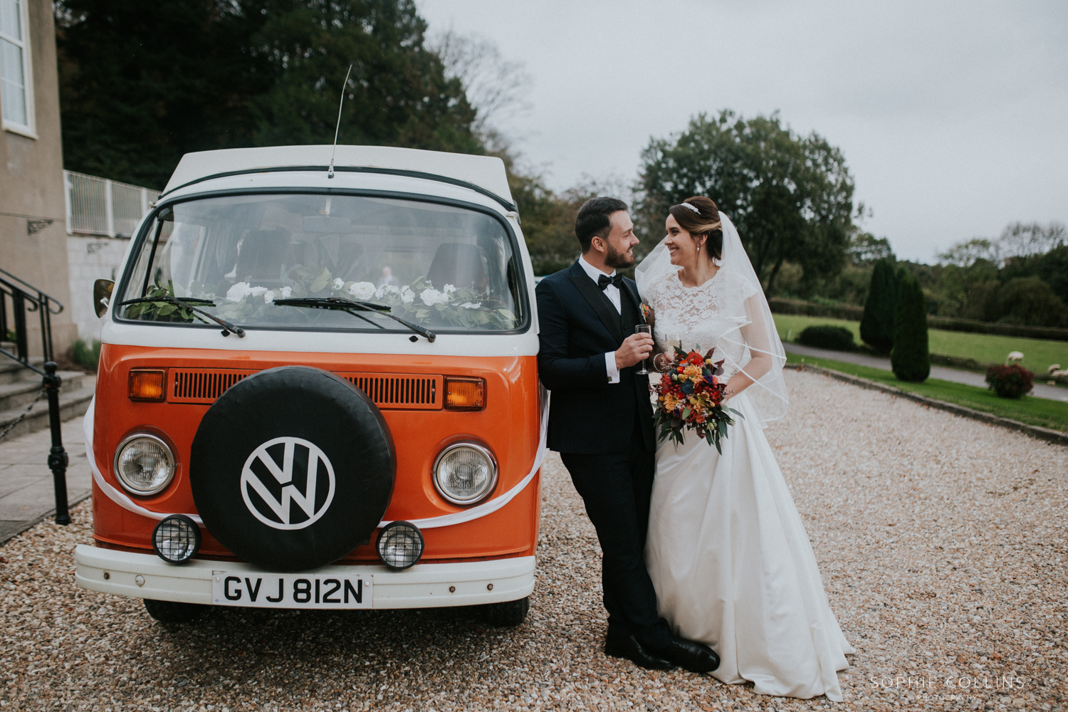 bride groom and camper van